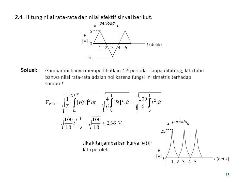 2.4. Hitung nilai rata-rata dan nilai efektif sinyal berikut.
