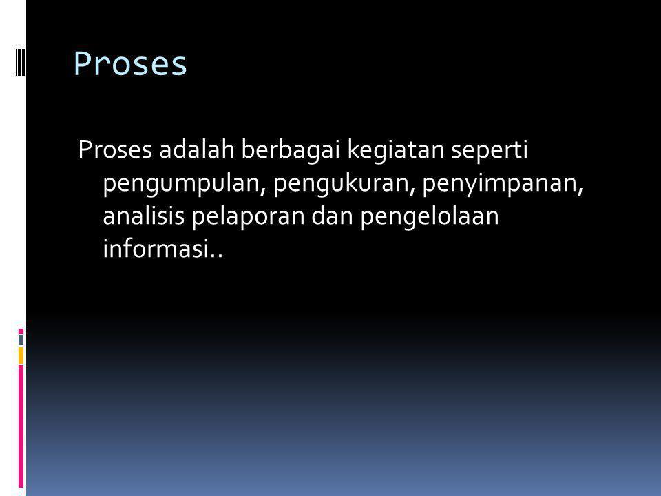Proses Proses adalah berbagai kegiatan seperti pengumpulan, pengukuran, penyimpanan, analisis pelaporan dan pengelolaan informasi..