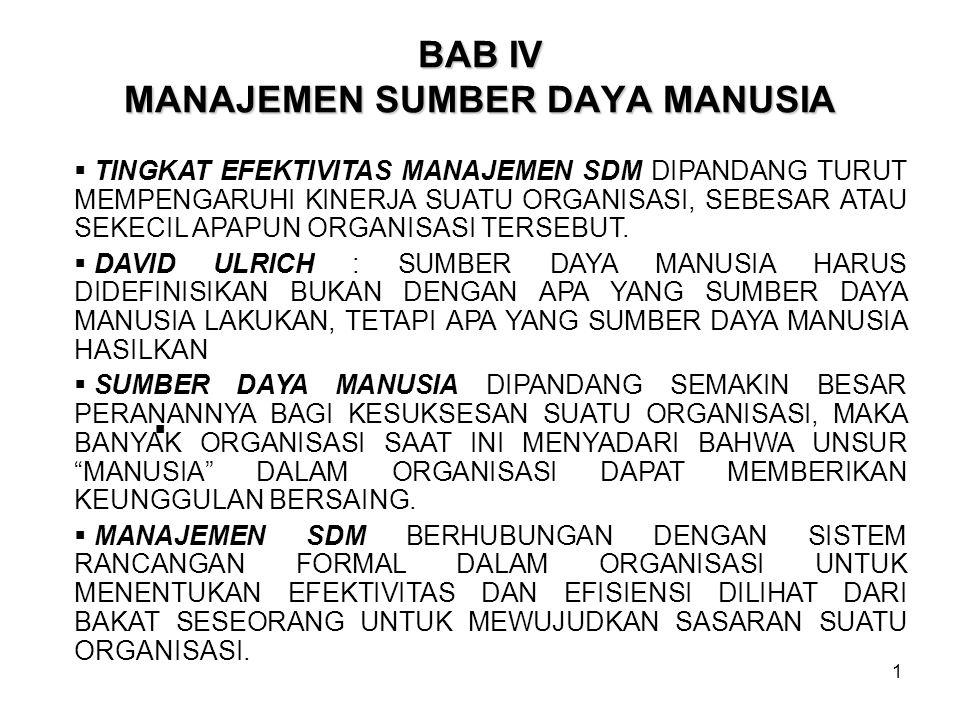 BAB IV MANAJEMEN SUMBER DAYA MANUSIA