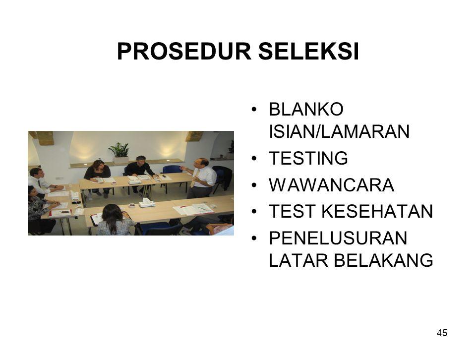 PROSEDUR SELEKSI BLANKO ISIAN/LAMARAN TESTING WAWANCARA TEST KESEHATAN