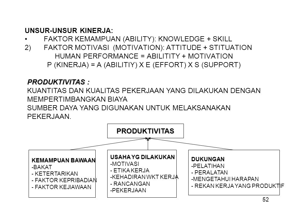 FAKTOR KEMAMPUAN (ABILITY): KNOWLEDGE + SKILL