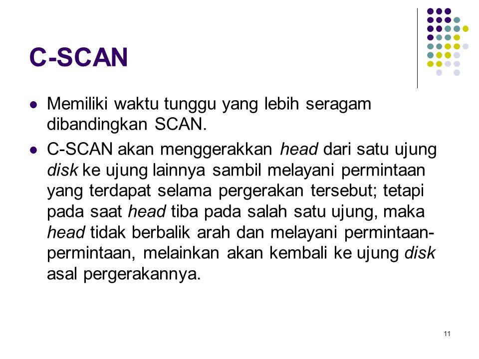 C-SCAN Memiliki waktu tunggu yang lebih seragam dibandingkan SCAN.