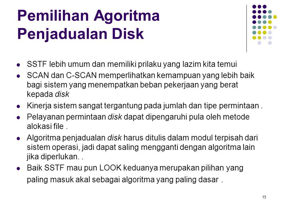 Pemilihan Agoritma Penjadualan Disk