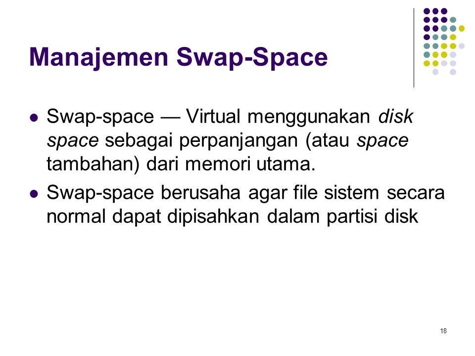 Manajemen Swap-Space Swap-space — Virtual menggunakan disk space sebagai perpanjangan (atau space tambahan) dari memori utama.