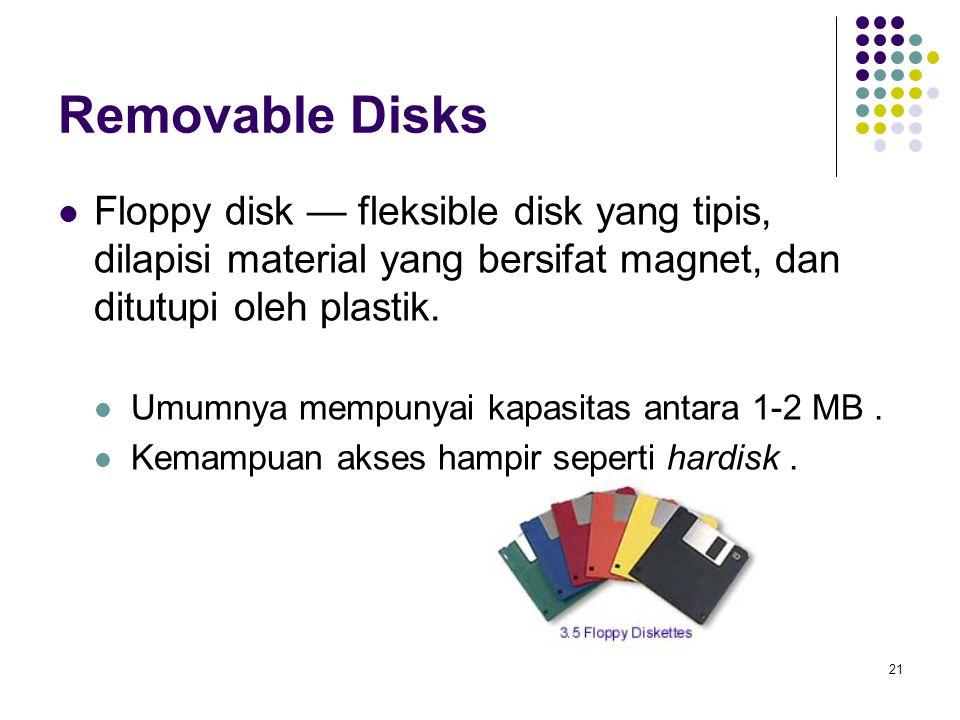 Removable Disks Floppy disk — fleksible disk yang tipis, dilapisi material yang bersifat magnet, dan ditutupi oleh plastik.