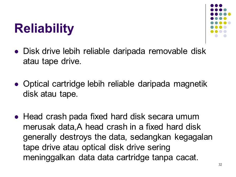 Reliability Disk drive lebih reliable daripada removable disk atau tape drive. Optical cartridge lebih reliable daripada magnetik disk atau tape.