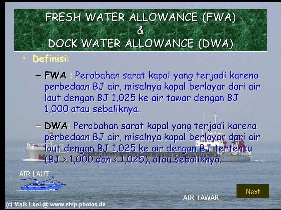 FRESH WATER ALLOWANCE (FWA) & DOCK WATER ALLOWANCE (DWA)