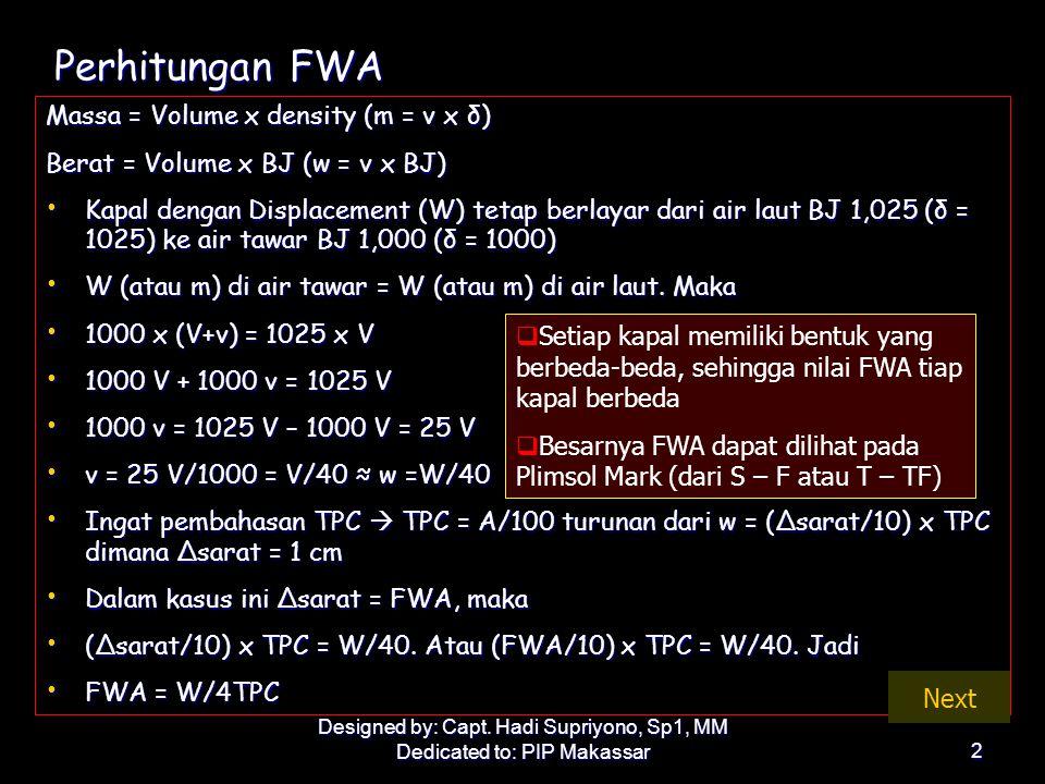 Perhitungan FWA Massa = Volume x density (m = v x δ)