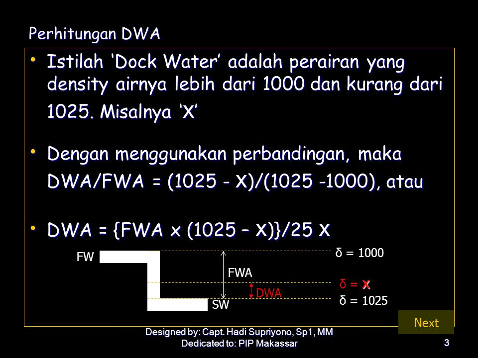 Perhitungan DWA Istilah 'Dock Water' adalah perairan yang density airnya lebih dari 1000 dan kurang dari 1025. Misalnya 'x'