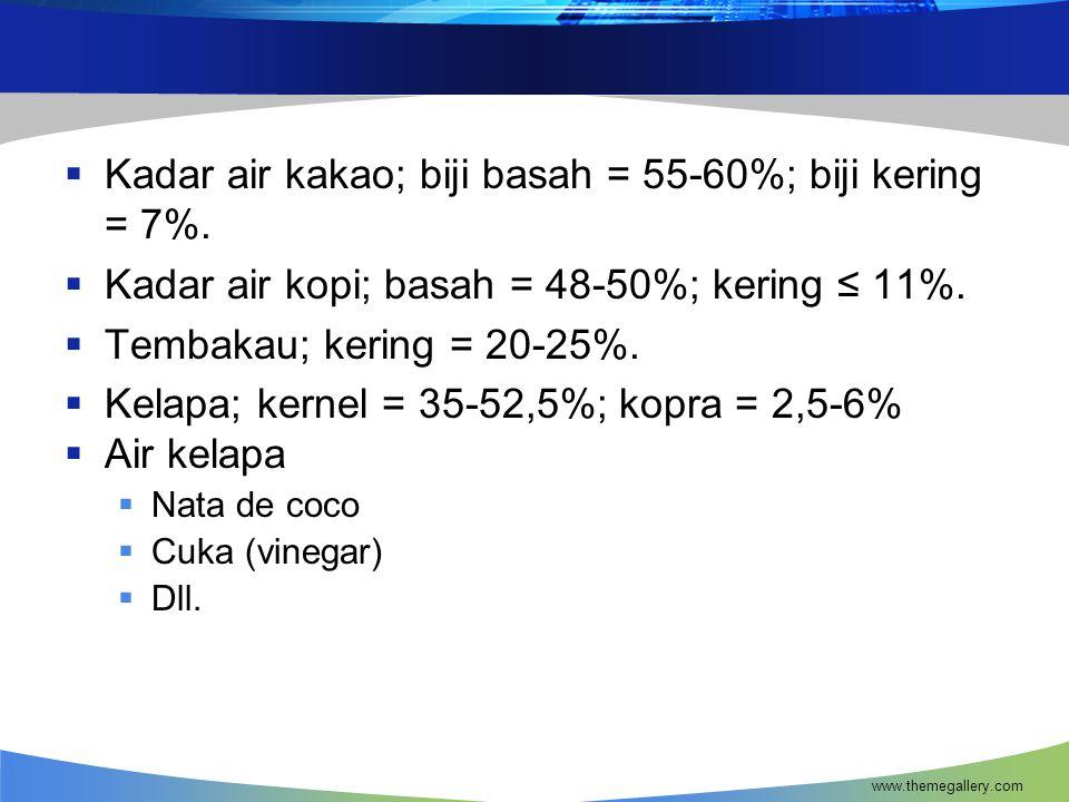 Kadar air kakao; biji basah = 55-60%; biji kering = 7%.