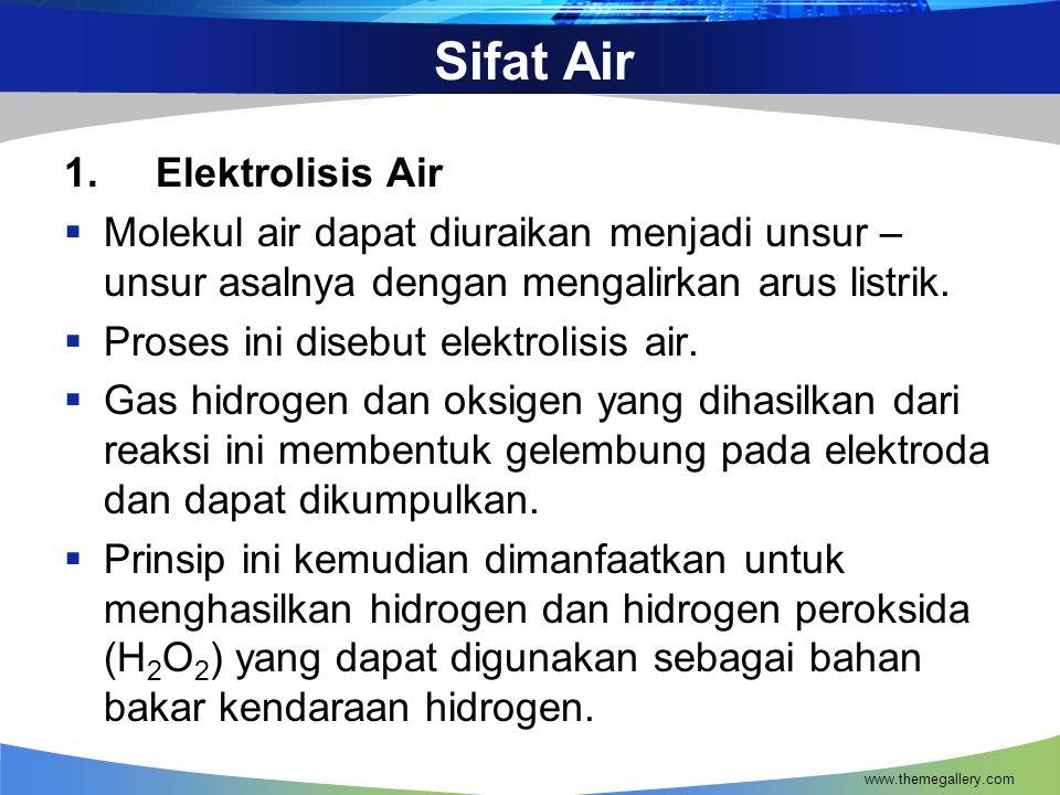 Sifat Air 1. Elektrolisis Air