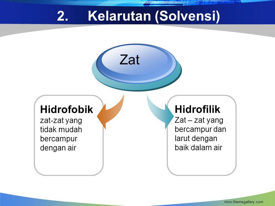 2. Kelarutan (Solvensi) Zat