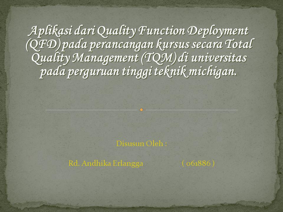 Aplikasi dari Quality Function Deployment (QFD) pada perancangan kursus secara Total Quality Management (TQM) di universitas pada perguruan tinggi teknik michigan.