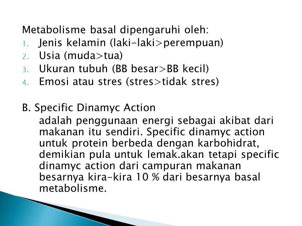 Metabolisme basal dipengaruhi oleh: