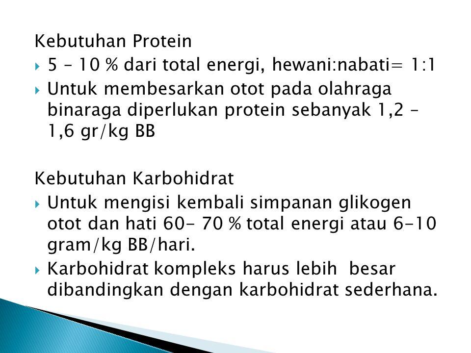Kebutuhan Protein 5 – 10 % dari total energi, hewani:nabati= 1:1.