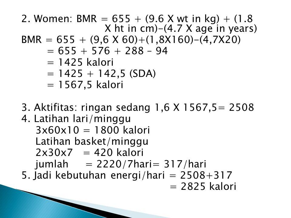 2. Women: BMR = 655 + (9. 6 X wt in kg) + (1. 8 X ht in cm)-(4
