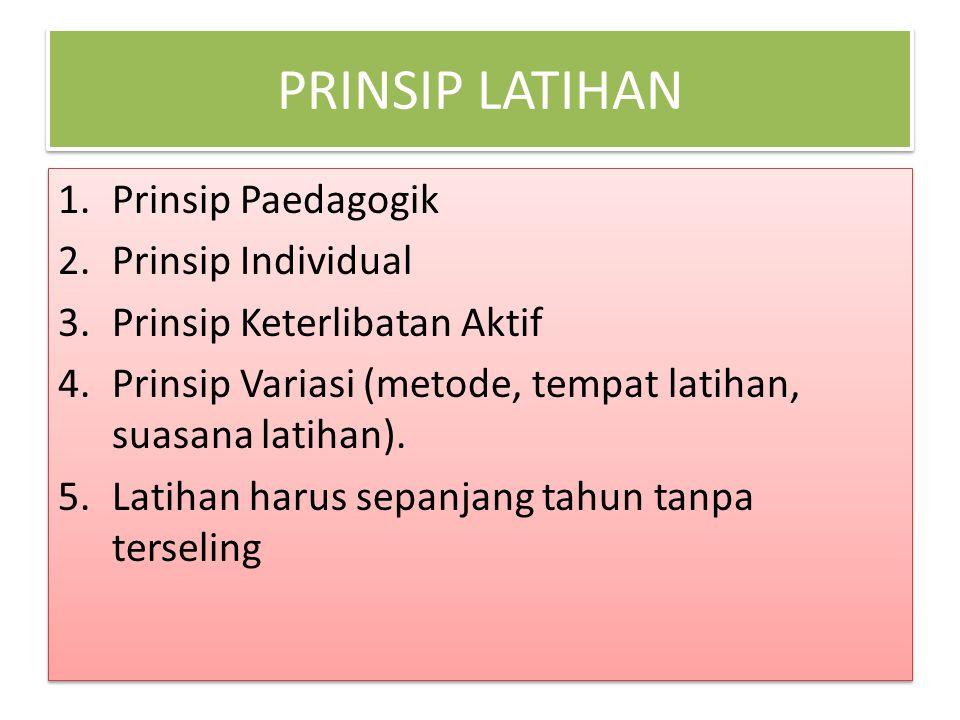 PRINSIP LATIHAN Prinsip Paedagogik Prinsip Individual