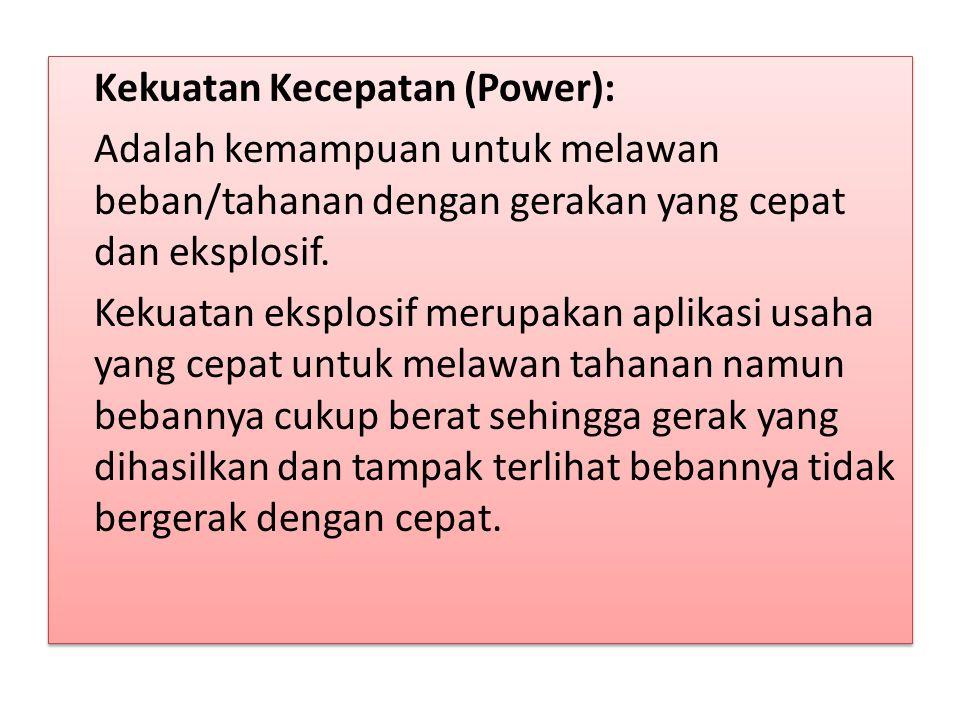 Kekuatan Kecepatan (Power): Adalah kemampuan untuk melawan beban/tahanan dengan gerakan yang cepat dan eksplosif.