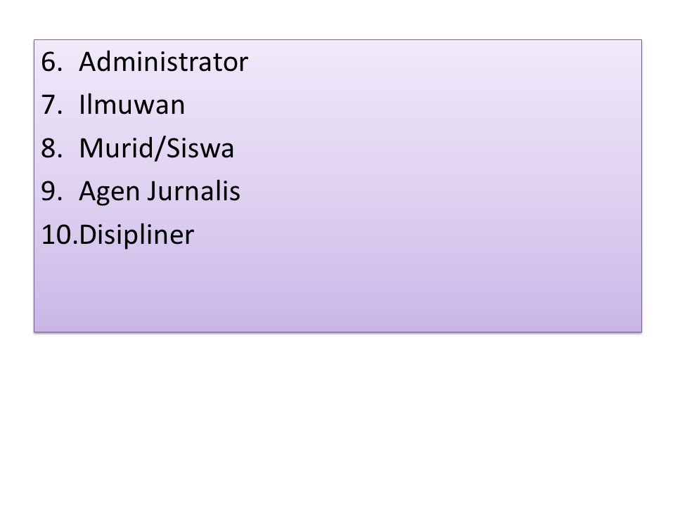 Administrator Ilmuwan Murid/Siswa Agen Jurnalis Disipliner