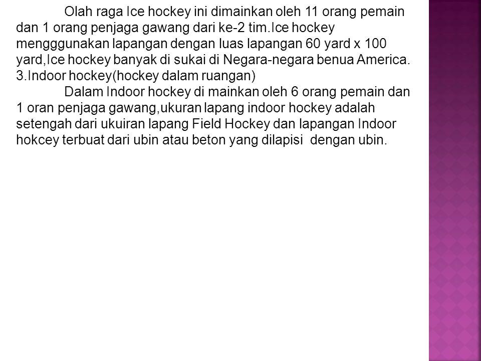 Olah raga Ice hockey ini dimainkan oleh 11 orang pemain dan 1 orang penjaga gawang dari ke-2 tim.Ice hockey mengggunakan lapangan dengan luas lapangan 60 yard x 100 yard,Ice hockey banyak di sukai di Negara-negara benua America.