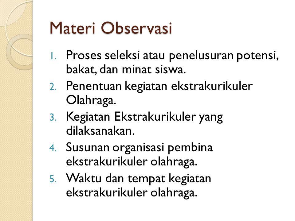Materi Observasi Proses seleksi atau penelusuran potensi, bakat, dan minat siswa. Penentuan kegiatan ekstrakurikuler Olahraga.