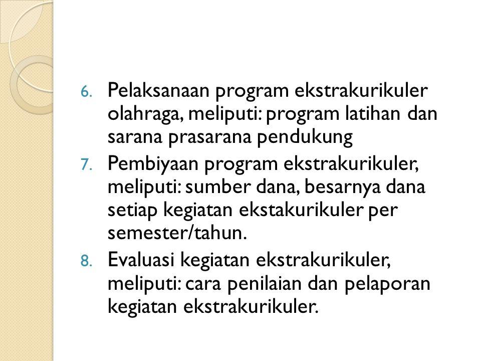 Pelaksanaan program ekstrakurikuler olahraga, meliputi: program latihan dan sarana prasarana pendukung