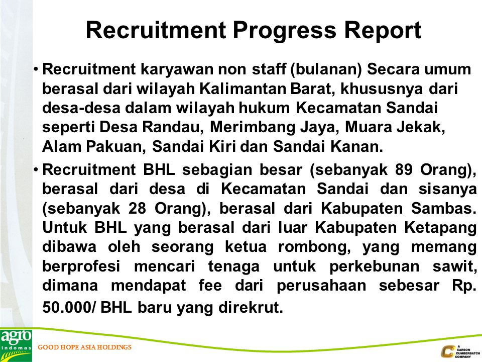 Recruitment Progress Report