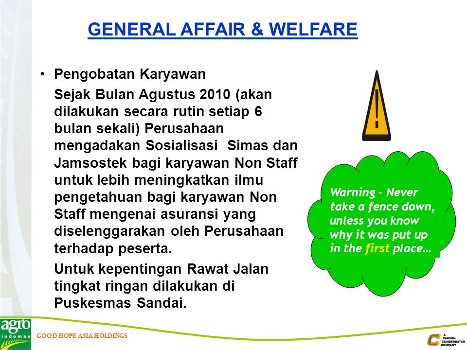 GENERAL AFFAIR & WELFARE