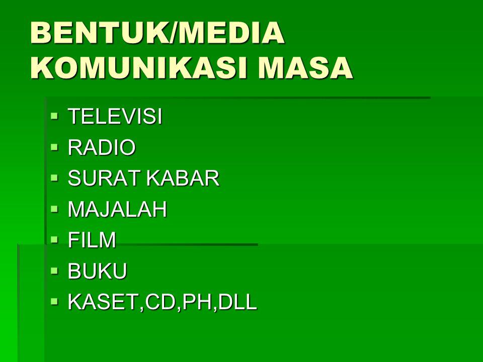 BENTUK/MEDIA KOMUNIKASI MASA