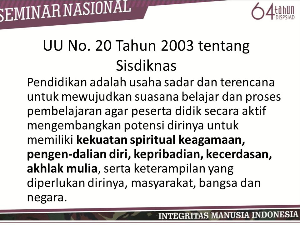 UU No. 20 Tahun 2003 tentang Sisdiknas