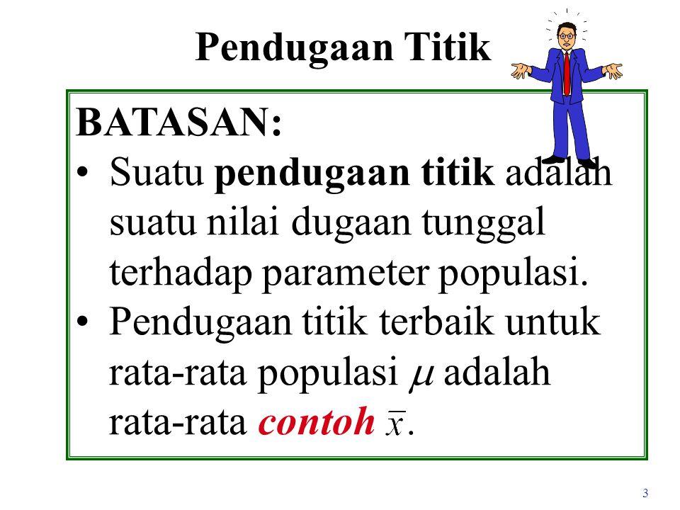 Pendugaan Titik BATASAN: Suatu pendugaan titik adalah suatu nilai dugaan tunggal terhadap parameter populasi.