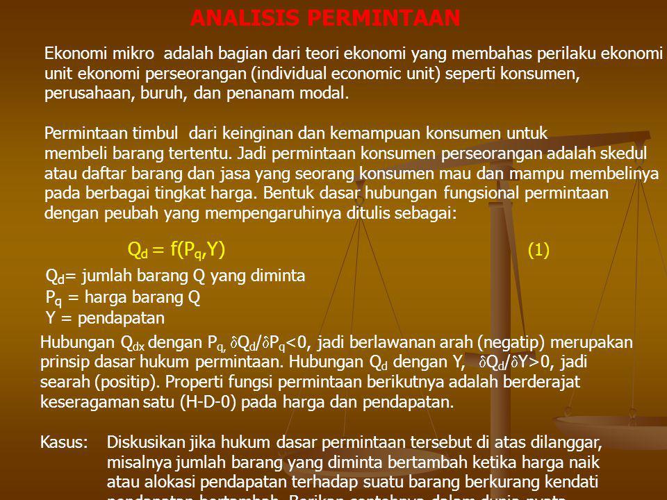 ANALISIS PERMINTAAN Qd = f(Pq,Y) (1)