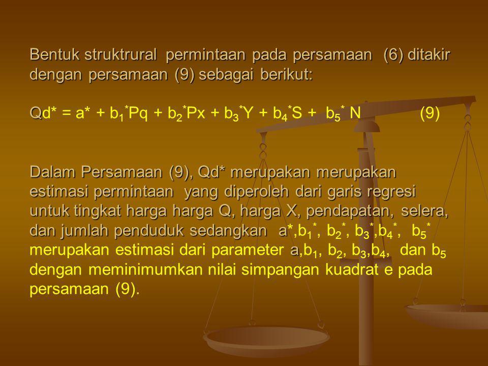 Bentuk struktrural permintaan pada persamaan (6) ditakir dengan persamaan (9) sebagai berikut: Qd* = a* + b1*Pq + b2*Px + b3*Y + b4*S + b5* N (9) Dalam Persamaan (9), Qd* merupakan merupakan estimasi permintaan yang diperoleh dari garis regresi untuk tingkat harga harga Q, harga X, pendapatan, selera, dan jumlah penduduk sedangkan a*,b1*, b2*, b3*,b4*, b5* merupakan estimasi dari parameter a,b1, b2, b3,b4, dan b5 dengan meminimumkan nilai simpangan kuadrat e pada persamaan (9).