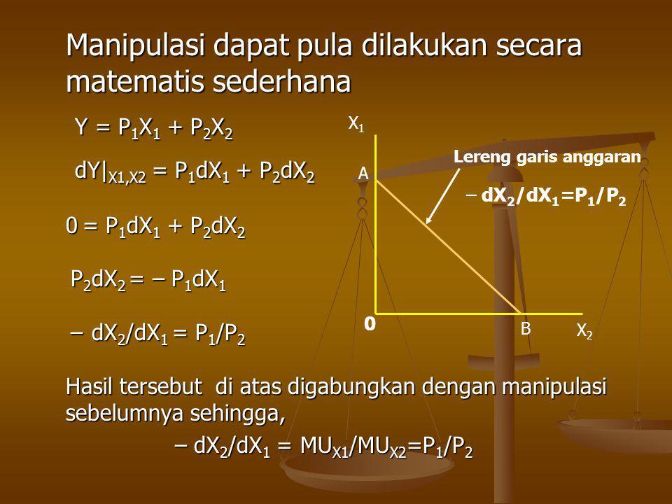 Manipulasi dapat pula dilakukan secara matematis sederhana