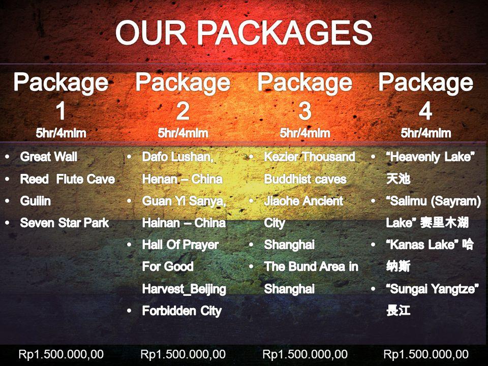 OUR PACKAGES Package 1 Package 2 Package 3 Package 4 5hr/4mlm