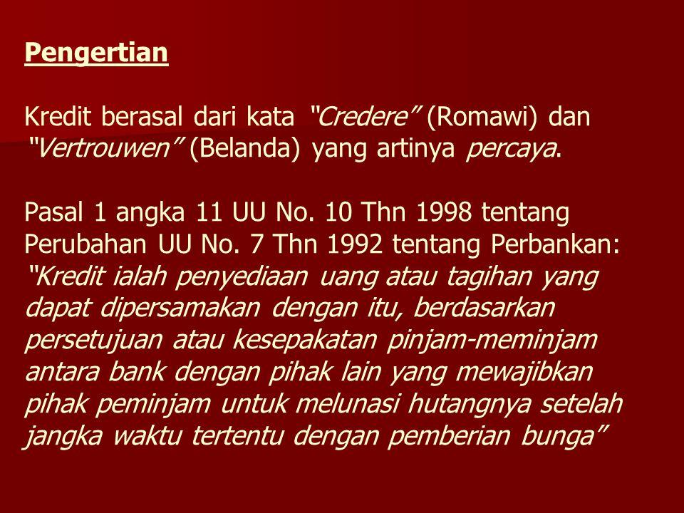 Pengertian Kredit berasal dari kata Credere (Romawi) dan Vertrouwen (Belanda) yang artinya percaya.