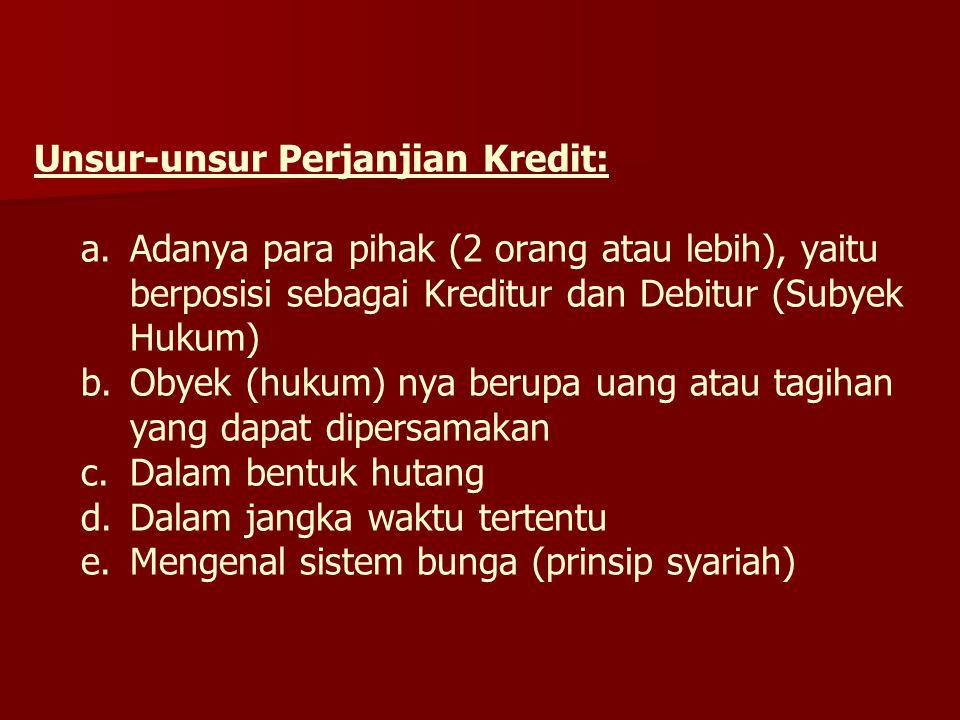 Unsur-unsur Perjanjian Kredit: a