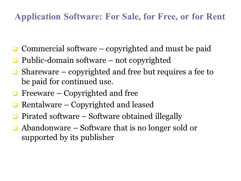 Application Software: For Sale, for Free, or for Rent