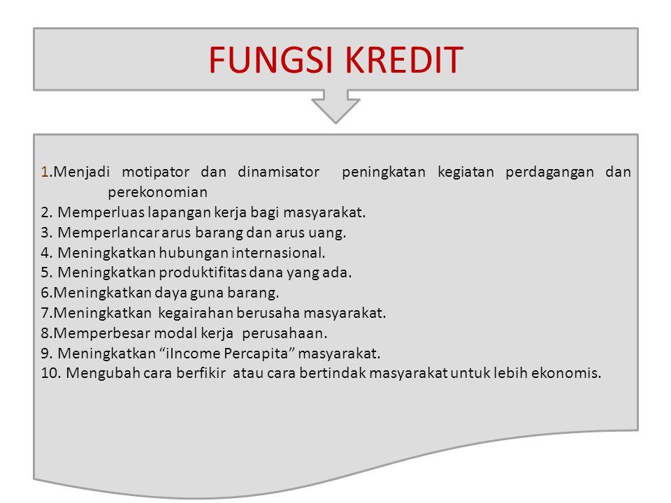 FUNGSI KREDIT 1.Menjadi motipator dan dinamisator peningkatan kegiatan perdagangan dan perekonomian.