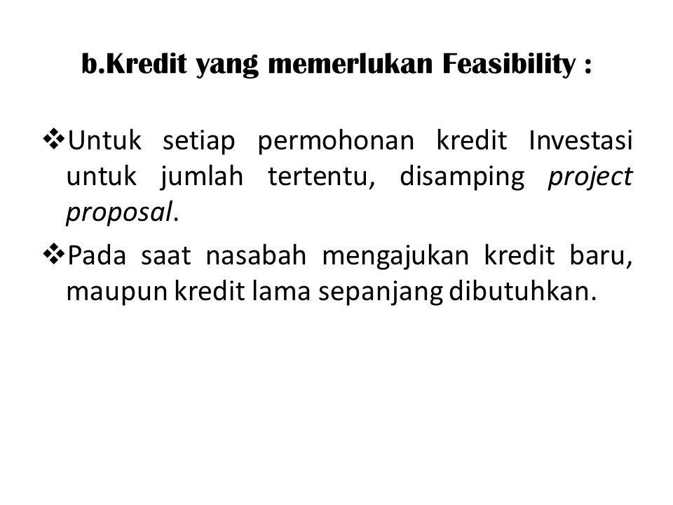 b.Kredit yang memerlukan Feasibility :