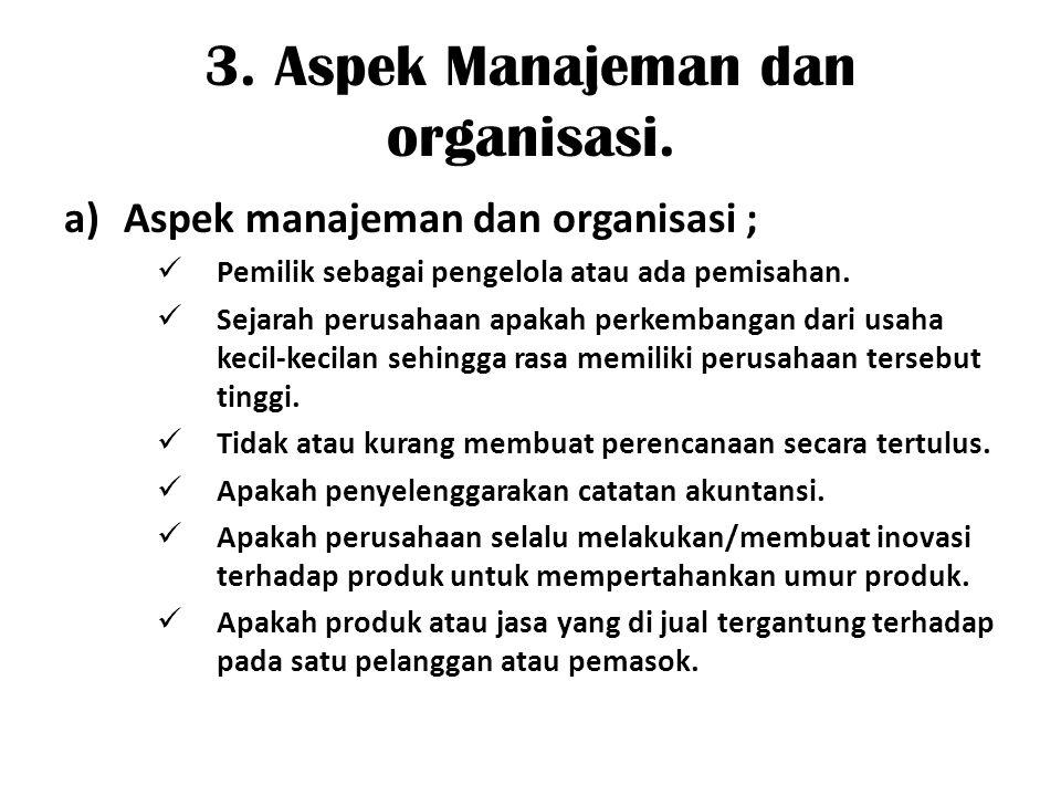 3. Aspek Manajeman dan organisasi.
