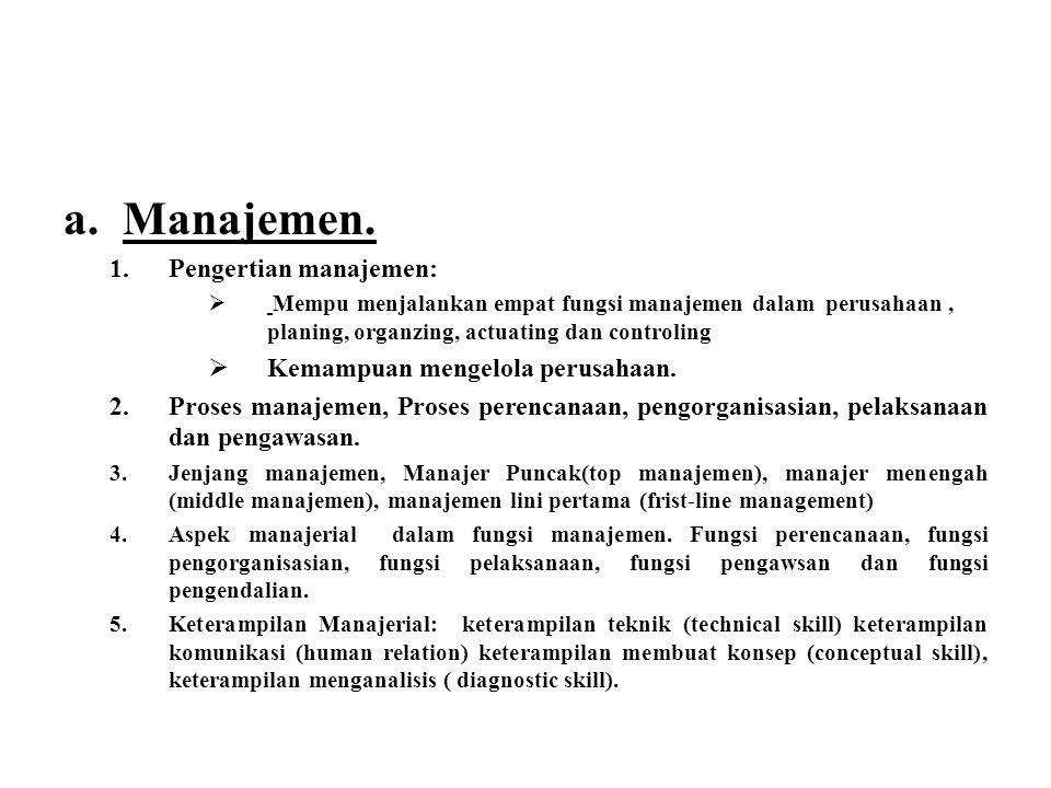 Manajemen. Pengertian manajemen: Kemampuan mengelola perusahaan.