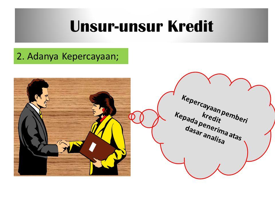 Kepercayaan pemberi kredit Kepada penerima atas dasar analisa