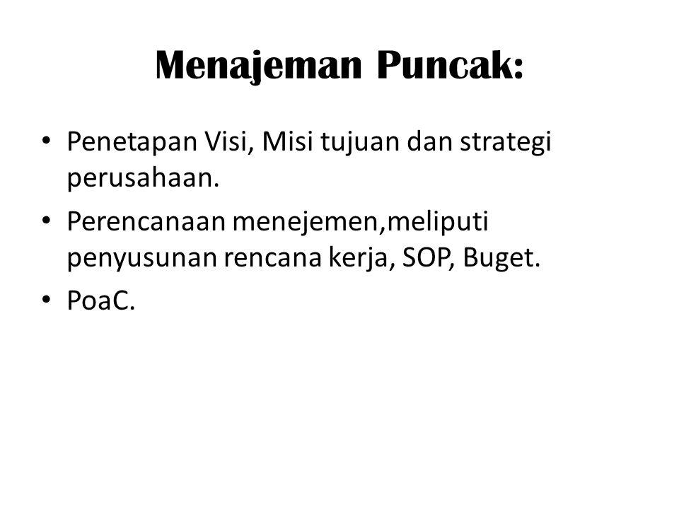 Menajeman Puncak: Penetapan Visi, Misi tujuan dan strategi perusahaan.