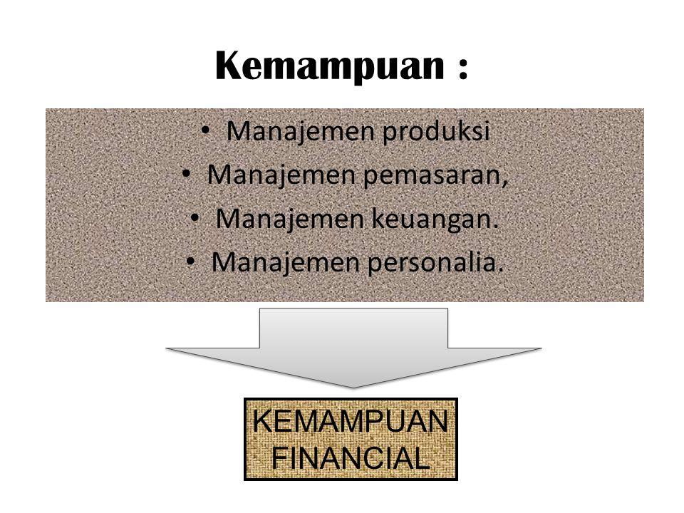 Kemampuan : Manajemen produksi Manajemen pemasaran,