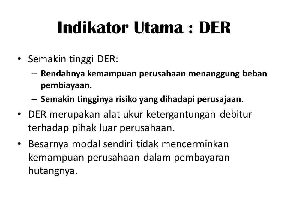 Indikator Utama : DER Semakin tinggi DER: