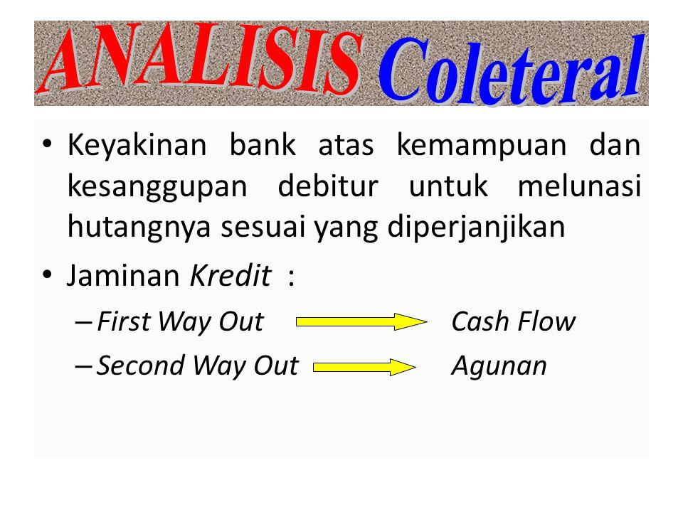 ANALISIS Coleteral Keyakinan bank atas kemampuan dan kesanggupan debitur untuk melunasi hutangnya sesuai yang diperjanjikan.