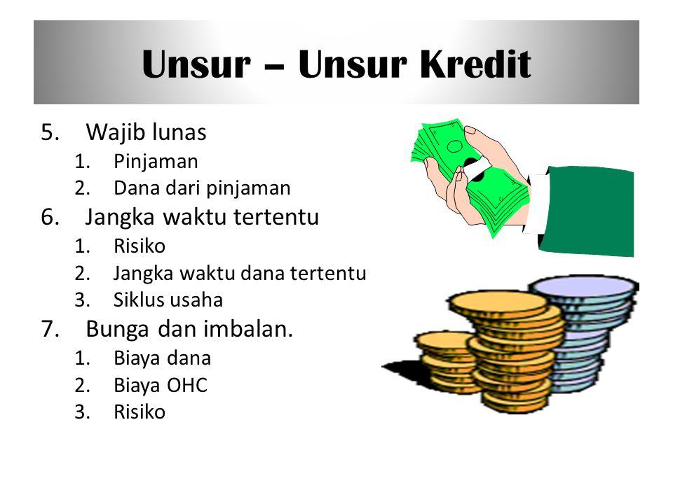 Unsur – Unsur Kredit 5. Wajib lunas 6. Jangka waktu tertentu