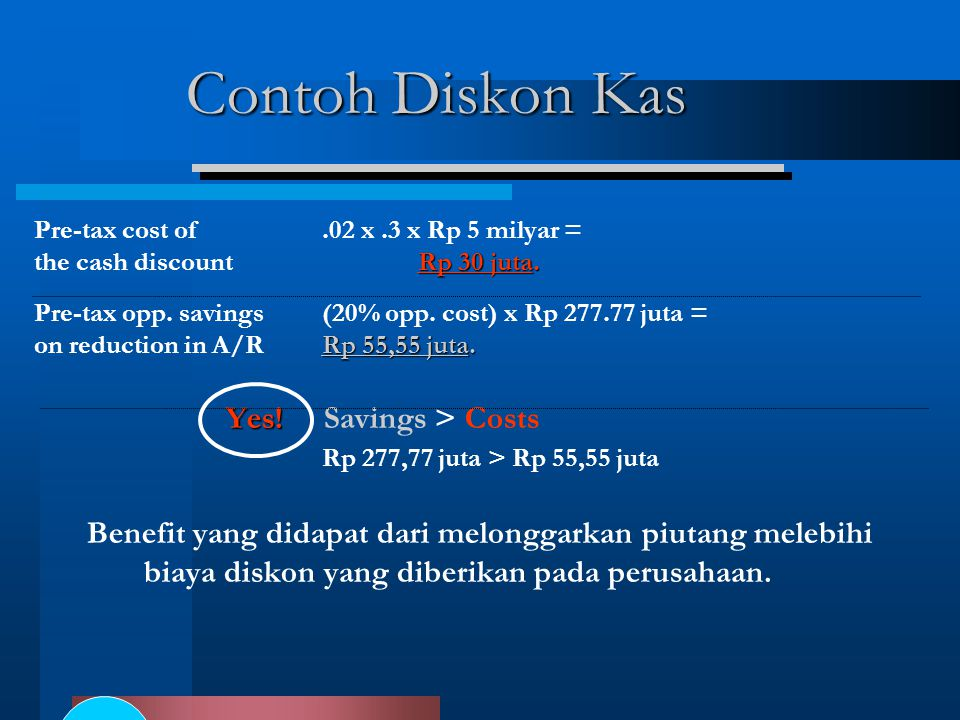 Contoh Diskon Kas Yes! Savings > Costs