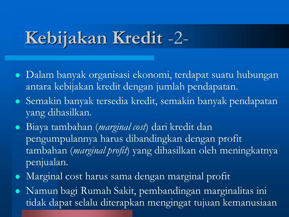 Kebijakan Kredit -2- Dalam banyak organisasi ekonomi, terdapat suatu hubungan antara kebijakan kredit dengan jumlah pendapatan.